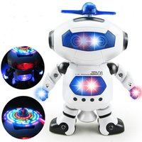 Wholesale New space dancing electric robot degrees rotating light music infrared Intelligent toy for children is funny