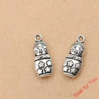 antique fashion doll - 100pcs Antique Silver Tone Matryoshka Dolls Russia Toys Charms Pendants Fashion Jewelry Diy Jewelry Findings x9mm jewelry making