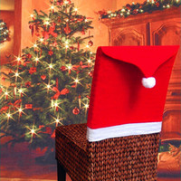 banquet table covers - 10pcs Christmas Hat For Chairs Red Hat Santa Clause Chair Back Cover Christmas Dinner Table Party Decor For Christmas