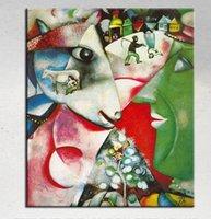 Рус. By marc chagall, Высокое качество Подлинная ручная роспись домашнего декора Абстрактная живопись маслом на холсте с индивидуальными размерами