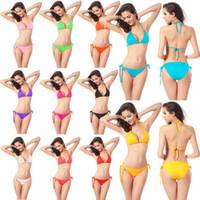Wholesale Plus size swimwear bikini brazilian for women swimsuits bathing suits triangle tankinis strappy halter bikini top low waist push up free dhl