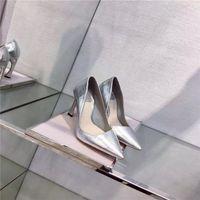Wholesale Hot newest shoppe ladies dress shoes mirror like silver horse s hoof high heel metals cowskin vamp sheepskin inside genuine leather tread