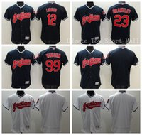 Wholesale Cleveland Indians Rick Vaughn Baseball Jerseys Elite Michael Brantley Francisco Lindor Jersey Man Team Color Navy Blue White