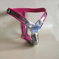 male chastity device pink - M138 pink new bondage male stainless steel lockable T Type chastity devices wtih penis cage cock cage anal toy plug sex toys for men