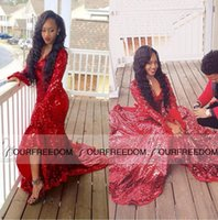 art sparkle - Sparkling Bling Red Sequined Mermaid Prom Dresses Deep V Neck Front Split Evening Dresses Arabic Custom Made Formal Party Gowns Cheap