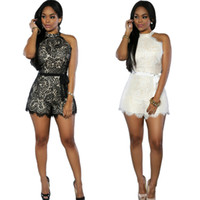 Skinny white' jumpsuits - Luxury European And American Big Fashion Spring Summer Women s Shorts Rompers Loose Sexy Lace Jumpsuits Have Belt White Black S XL