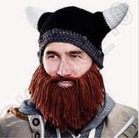 Precio de Cráneo del sombrero del esquí-Beanie Skull Gorras Sombreros de punto barbudo Vikings Horn Hat Knitted sombrero más caliente Ski Skull Bike Unisex Hombres Beard Cap CCA4581 100pcs