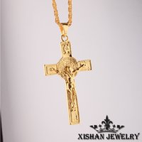 anniversary blessings - 2016 Men Jewelry Gold Plated GOD BLESS Jesus Portrait Cross Necklace Men s Necklace Long CM Hip Hop mens Cross Necklace festival Gifts