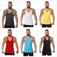Wholesale Pure color tank tops for men sports vest Cotton training vest gym tops for men undershirts Mens Fitness Tank Top Colors LA311