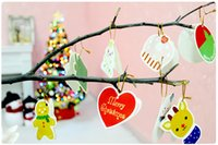 Wholesale Christmas Greeting Blessing paper card hanging in Christmas Tree Ornament Decorations Home Festival Hanging Kids Child Gift pc per bag