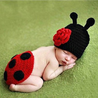 Wholesale Newborn Cute Baby Crochet Photography Props Hats and Caps Beatles Style Soft Comfortable Adorable Clothes boys clothing sets