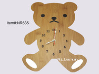 Wholesale bamboo decorative wall clock craft clock gift children creative clock