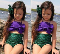 Wholesale Pretty Baby bowtie Fashion Princess Girls Mermaid Swimsuit one piece Kids Toddler Bikini Suit Child Swimwear Children Bathing C3021