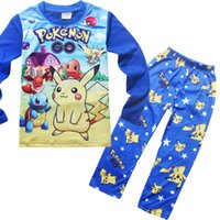 Wholesale 2016 Poke mon Pikachu Pajamas Suit Kids Girls Boys Sleeper Poke mon Go Nightwear Kids Tracksuit Clothing Set For Autumn