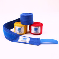 Wholesale 1 pair cm cm Men Cotton Boxing Bandage Strap Glove Wraps Boxing Equipment MMA Kickboxing Muay Thai Sanda Sports Training free ship