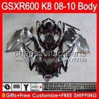 abs wine - 8gifts Red wine Bodywork For SUZUKI GSXR600 GSX R600 NO59 GSXR K8 GSXR Fairing TOP gloss silver Kit