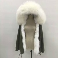 Wholesale Mr Mrs Itlay Ladies mini canvas furs parka winter women furs jackets with raccoon fur hood real picture show