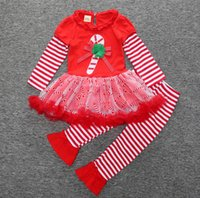 baby bell bottoms - Santa Claus stripes tutu bell bottoms baby suits autumn winter new years children Christmas clothes set A20