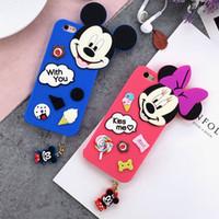 al por mayor iphone el enchufe del polvo de pato-Para Apple iPhone 6 6S / 6 Plus 6Splus Carcasa de Silicona 3D Micky Duck Soft Back Covers Silicon Case Earphone Dust Plug