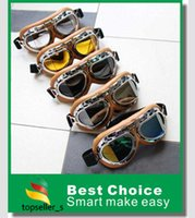 Wholesale Motorcycle Goggles Eyewear Glasses for Aviator Pilot Cruiser Scooter ATV T08Y Five Lens Clear Smoke Colorful silver Yellow availble