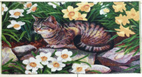 Wholesale whole sale DIY picture hanging Lovely Cat wall arts tapestries oil painting like style and washable picture