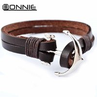 Wholesale Vintage alloy anchor clasp men brown wrap leather bracelet layers leather bracelet bangle for man and women FB00018