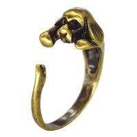 Precio de Perros perro de aguas-1pcs / lot Anillo de cobre amarillo de cocker spaniel del nudillo del Hippie de la plata de la vendimia Anillo de Chic del medio dedo de Boho del anillo de perro de los anillos para las mujeres Hombres Fine Jewely