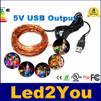 Wholesale 10M ft led V USB powered outdoor Warm white RGB led copper wire string lights christmas festival wedding party decoration