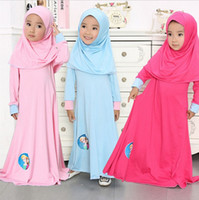 autumn prayer - Girls Elsa Anna Dress New Style Kids Abaya Dress Girl Muslim Lslamic Nation Prayer Clothes Dress Scarf Set Kids Burqa With Hijab