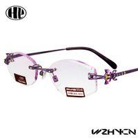 Wholesale 2016 new power lens stainless steel gafa metal high quality rimless diamond cut trimming reading glasses women