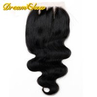 Wholesale 6A Free Middle Part Virgin Hair Closures Bleached Knot Peruvian Lace Closure Body Wave Human Hair Closure epacket
