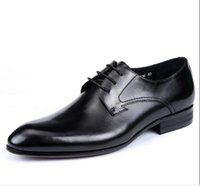 b pops - 2016 New British business dress shoes pointed Genuine leather shoes men s spring cowhide pop male shoes authentic wedding shoes