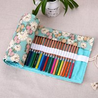 art supply case - Girls Fresh Holes Canvas Roll Up School Pencil Case Floral Clock Art Painting Pen Houlder Bag School Supply Stationery