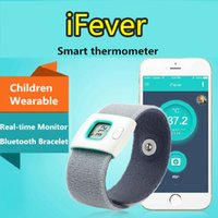 Wholesale 2016 IFever children Intelligent thermometer wearable electronic bluetooth smart baby thermometer Temperature Monitoring for iOS Android