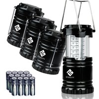 Wholesale 4 Pack Portable Outdoor LED Camping Lantern with AA Batteries Black Collapsible