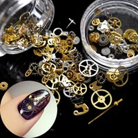 art suplies - 3D Ultra thin Punk Style Studs Nail Art Decorations Time Wheel DIY Nail Suplies Gold Steam Machine Gear Punk Style Nail Decoration
