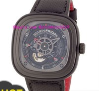 accent stainless - Luxury Wristwatch Original Box NEW SevenFriday P3 Black PVD Case Red Accents Automatic Men s Watch