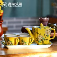 Wholesale Luxury hand painted Chinese ceramic Tea Set flower birds pattern Porcelain drinkware
