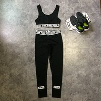 Cheap Summer Pink Letters Tracksuit Women Yoga Suits Vest Black Leggings Sport Suits Running Gym Training Cropped Sweat Suits OOA865