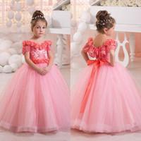 2016 preciosa rosada del niño de la muchacha del desfile de los vestidos de los hombros Flores con cuentas de manga corta de bola del vestido de la princesa del arco Glitz Niños Ropa Formal