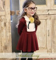american berry - Girls dresses autumn children falbala collar splicing long sleeve dress kids Bows flowers princess dress Amber berry Girls clothes A946