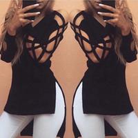 Wholesale Womens Deep V Cross Strap Long Sleeve Blouse Loose V neck Shirt Autumn Top Long Hollow Split T Shirt NEW