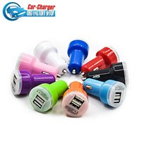 Wholesale 1000PCS Candy dual usb car charger Auto Charger Adapter for iPod iPhone C S Samsung S4 S5 HTC iPod iPad Blue LED Candy Color
