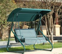 bench cushion covers - 3 seater durable iron patio garden swing chair hammock hanging cover bench with cushion green