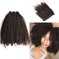Wholesale Brazilian Human Hair Afro Kinky Curly Clip in Hair Extension pcslot A Clip in for African American
