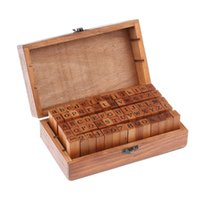 Wholesale 70pcs Vintage DIY Number And Alphabet Letter Wood Rubber Stamps Set With Wooden Box For Teaching And Play