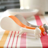 Wholesale Creative Rice Spoon Three Colour Cute Squirrel Kitchen Tool Non Stick Rice Paddle Spoon Ladle Scoop Easy to Hold Rice