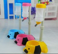 Wholesale pet lift automatic watering device cute dog head shaped Foldable vertical drinkers Dog Food Bowl SetVarious colors