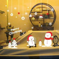 Wholesale Wall Stickers for Christmas Decorative Wall Cecal Xmas Home Decoration With Snowman Window Display Removable Wallpaper Product Code