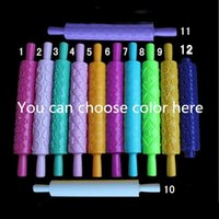 Cheap 12 Styles Pastic Non-stick Fondant Cake Embossing Roller Sugarcraft Decorating Lace Rolling Pin DIY Kitchen Cooking Tool D794